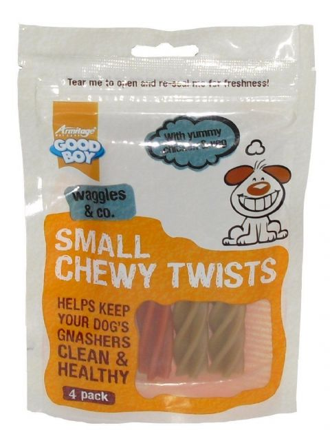 Goodboy Waggles & Co Dog Chicken & Veg Small Chewy Twists Dental Treat Snack pack of 4